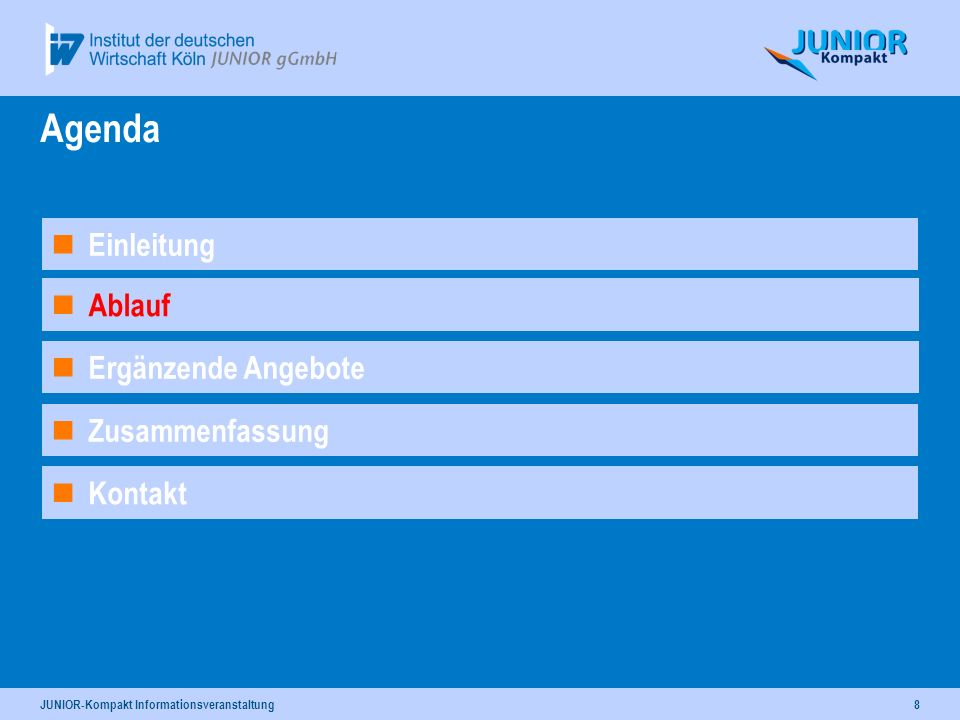 JUNIOR-Kompakt Informationsveranstaltung8 Ergänzende Angebote Ablauf Agenda Kontakt Einleitung Zusammenfassung
