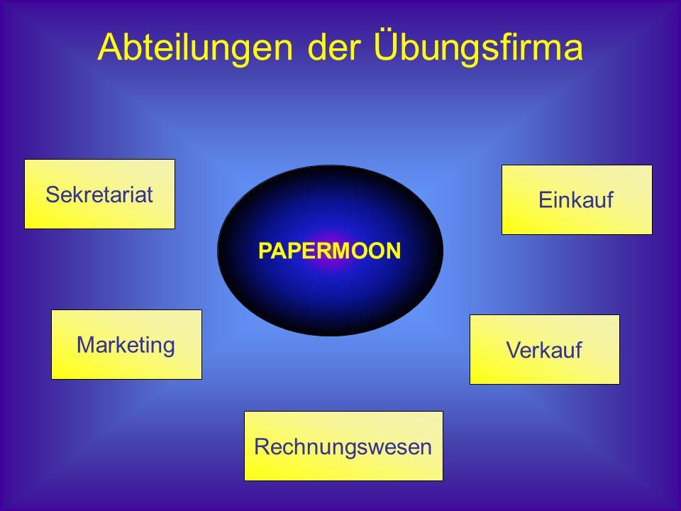 PAPERMOON Rechnungswesen Verkauf Sekretariat Marketing Einkauf Abteilungen der Übungsfirma