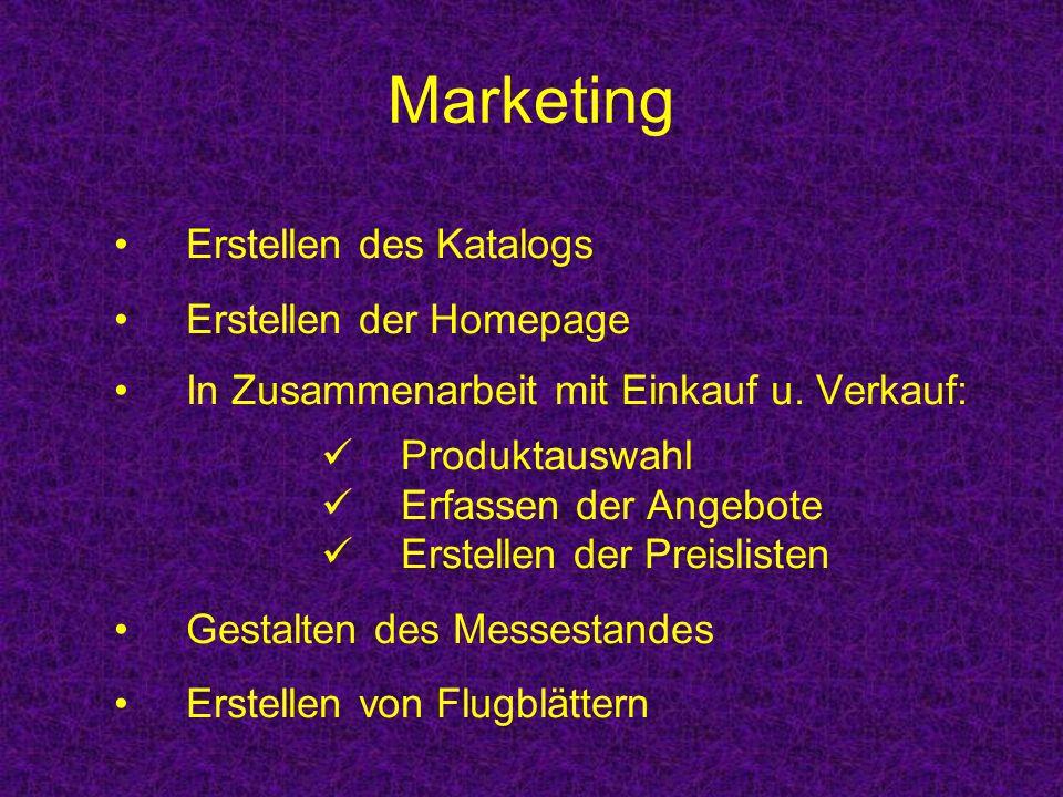 Marketing Erstellen des Katalogs Erstellen der Homepage In Zusammenarbeit mit Einkauf u. Verkauf: Produktauswahl Erfassen der Angebote Erstellen der P