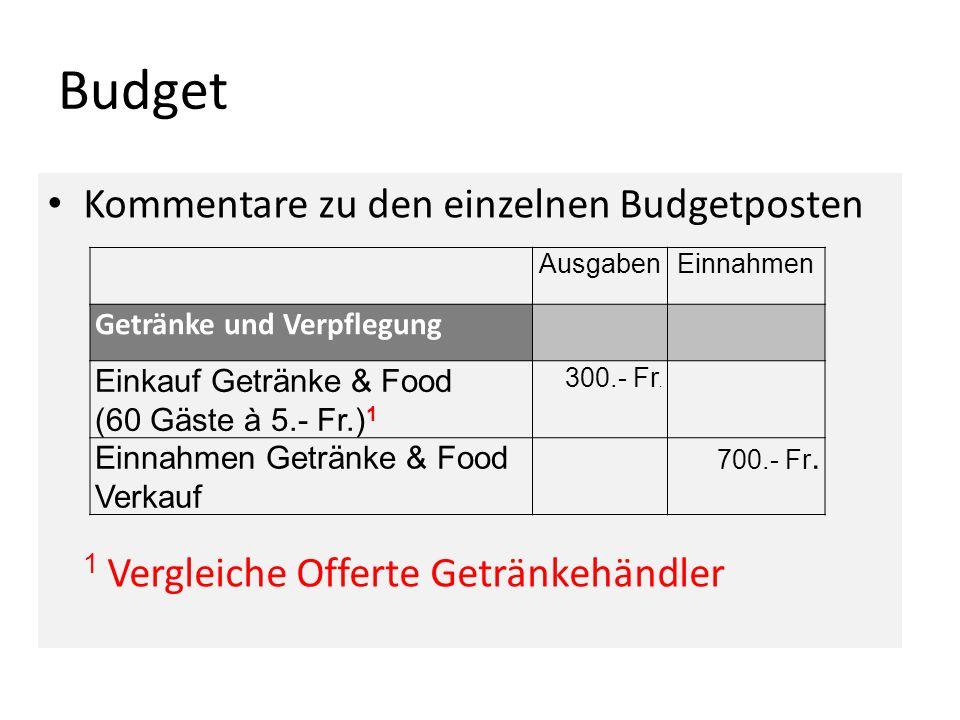 Budget Kommentare zu den einzelnen Budgetposten 1 Vergleiche Offerte Getränkehändler AusgabenEinnahmen Getränke und Verpflegung Einkauf Getränke & Foo