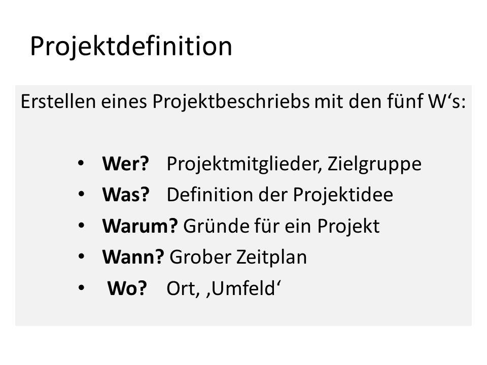 Projektdefinition Erstellen eines Projektbeschriebs mit den fünf Ws: Wer?Projektmitglieder, Zielgruppe Was?Definition der Projektidee Warum? Gründe fü