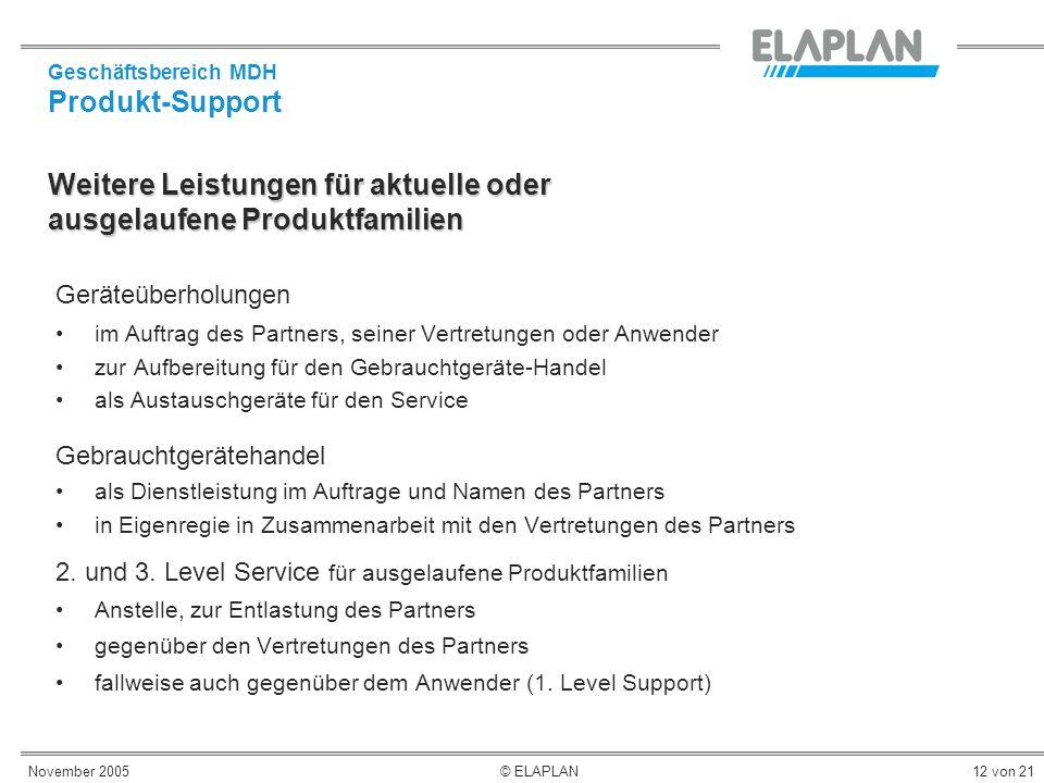 November 2005© ELAPLAN12 von 21 Weitere Leistungen für aktuelle oder ausgelaufene Produktfamilien Geräteüberholungen im Auftrag des Partners, seiner V