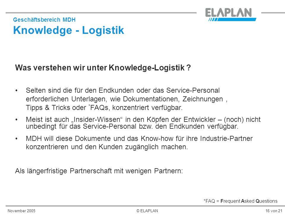 November 2005© ELAPLAN16 von 21 Was verstehen wir unter Knowledge-Logistik ? *FAQ = Frequent Asked Questions Geschäftsbereich MDH Knowledge - Logistik