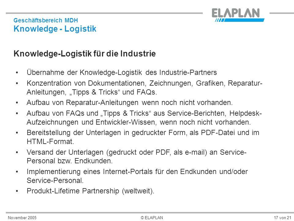November 2005© ELAPLAN17 von 21 Knowledge-Logistik für die Industrie Übernahme der Knowledge-Logistik des Industrie-Partners Konzentration von Dokumen