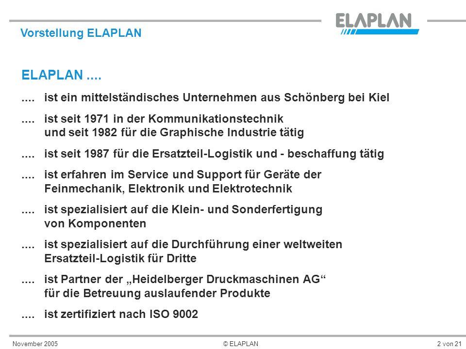 November 2005© ELAPLAN2 von 21 ELAPLAN........ ist ein mittelständisches Unternehmen aus Schönberg bei Kiel.... ist seit 1971 in der Kommunikationstec
