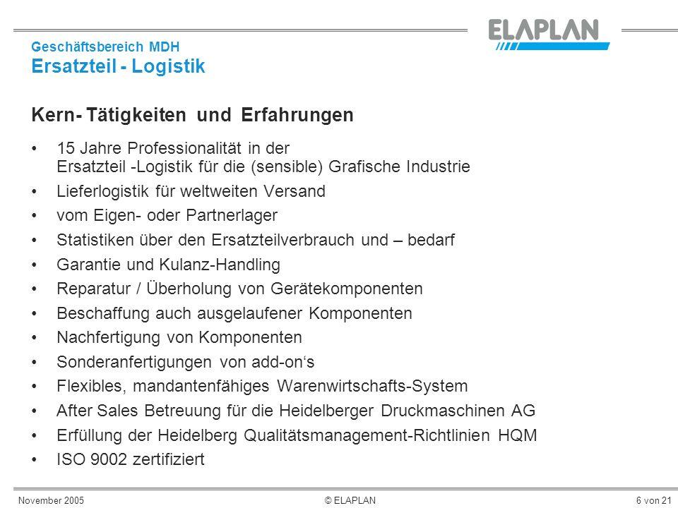 November 2005© ELAPLAN6 von 21 Kern- Tätigkeiten und Erfahrungen 15 Jahre Professionalität in der Ersatzteil -Logistik für die (sensible) Grafische In