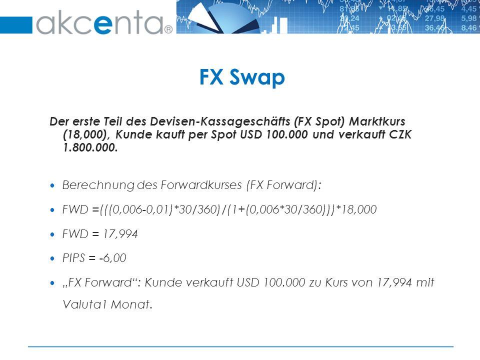 Der erste Teil des Devisen-Kassageschäfts (FX Spot) Marktkurs (18,000), Kunde kauft per Spot USD 100.000 und verkauft CZK 1.800.000.