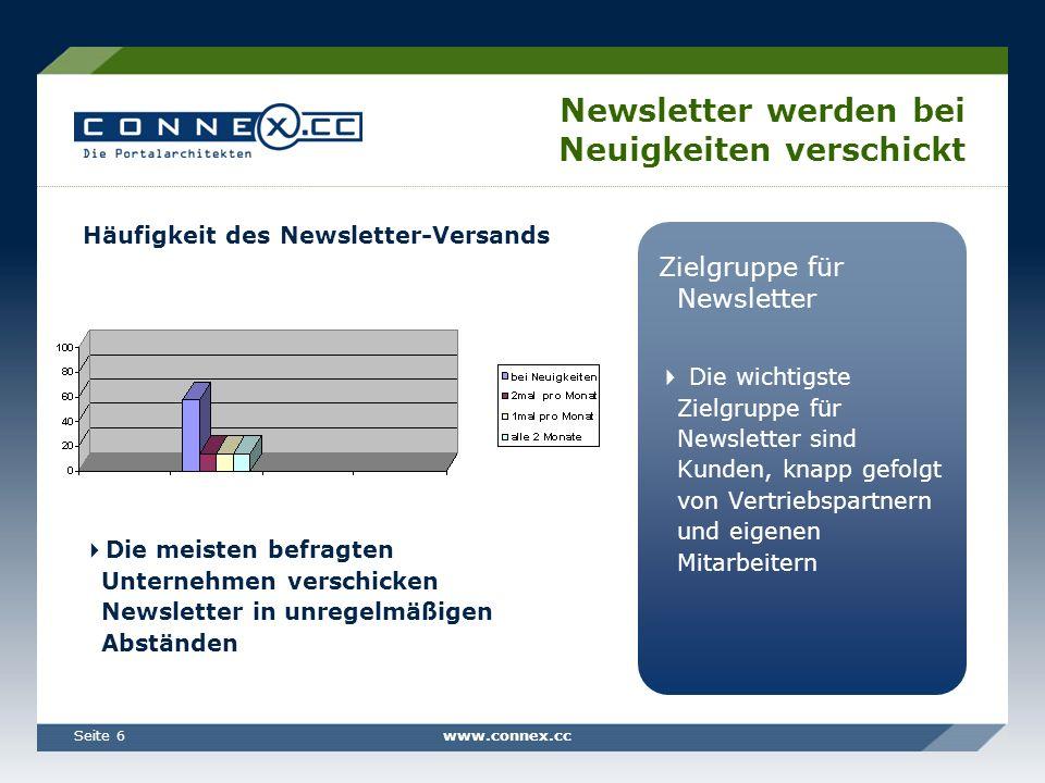 www.connex.ccSeite 6 Newsletter werden bei Neuigkeiten verschickt Zielgruppe für Newsletter Die wichtigste Zielgruppe für Newsletter sind Kunden, knapp gefolgt von Vertriebspartnern und eigenen Mitarbeitern Häufigkeit des Newsletter-Versands Die meisten befragten Unternehmen verschicken Newsletter in unregelmäßigen Abständen