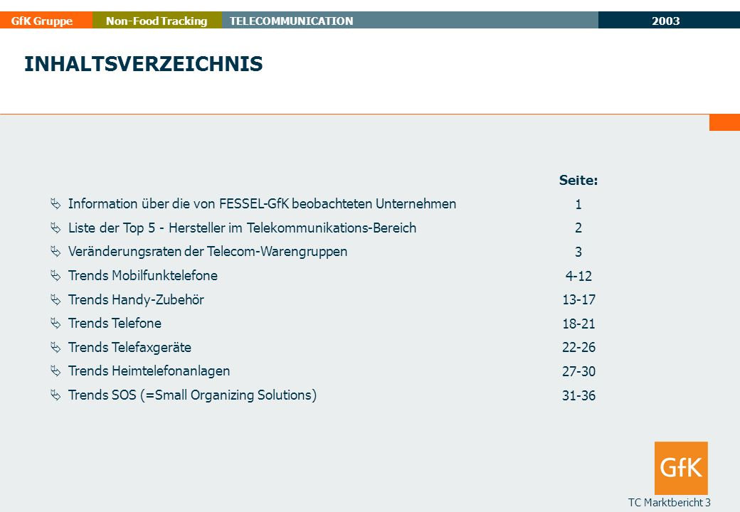 2003 GfK GruppeTELECOMMUNICATIONNon-Food Tracking TC Marktbericht 3 INHALTSVERZEICHNIS Information über die von FESSEL-GfK beobachteten Unternehmen Li