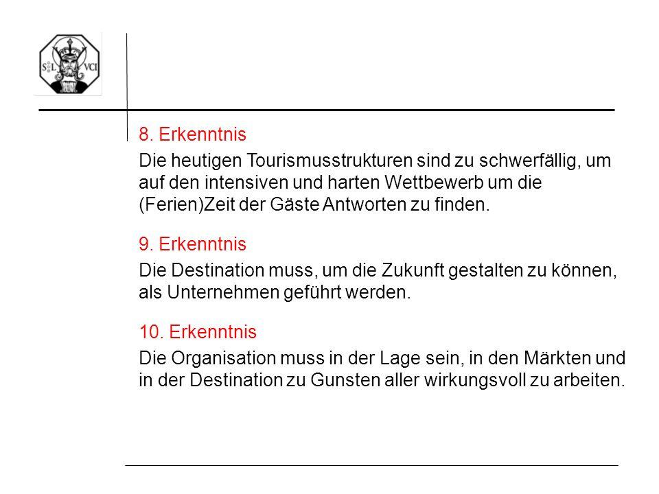 8. Erkenntnis Die heutigen Tourismusstrukturen sind zu schwerfällig, um auf den intensiven und harten Wettbewerb um die (Ferien)Zeit der Gäste Antwort