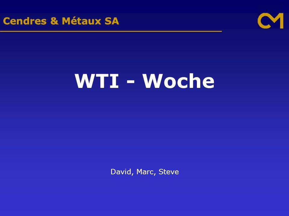 Cendres & Métaux SA WTI - Woche David, Marc, Steve