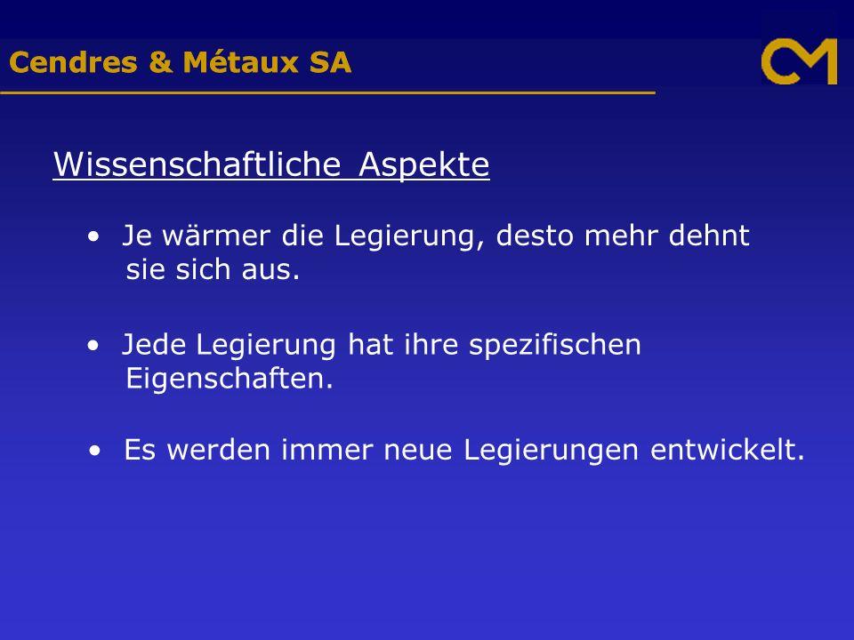 Cendres & Métaux SA Wissenschaftliche Aspekte Je wärmer die Legierung, desto mehr dehnt sie sich aus.