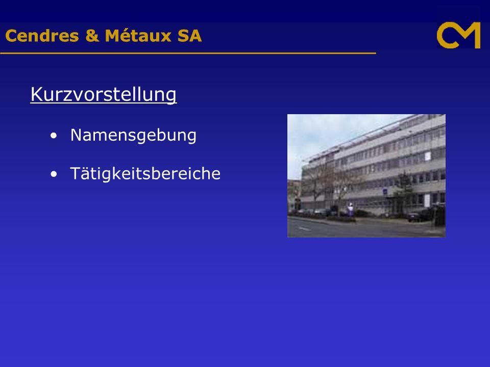 Cendres & Métaux SA Kurzvorstellung Namensgebung Tätigkeitsbereiche