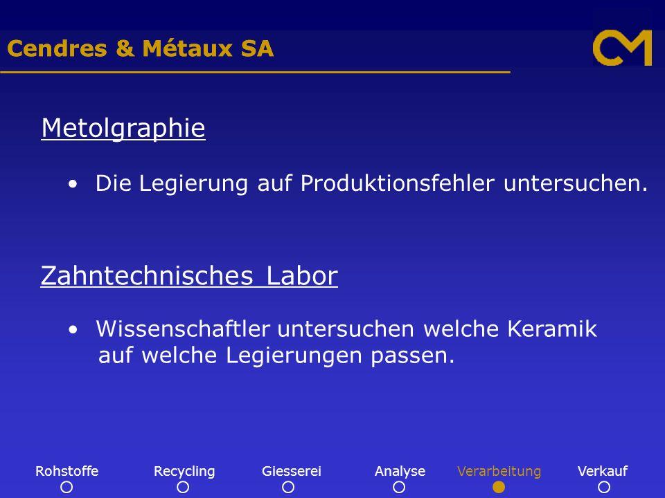 Cendres & Métaux SA Metolgraphie Die Legierung auf Produktionsfehler untersuchen.