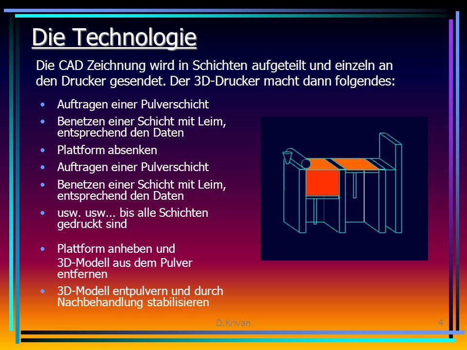 D.Krivan4 Die Technologie Auftragen einer Pulverschicht Benetzen einer Schicht mit Leim, entsprechend den Daten Plattform absenken Auftragen einer Pulverschicht Benetzen einer Schicht mit Leim, entsprechend den Daten usw.