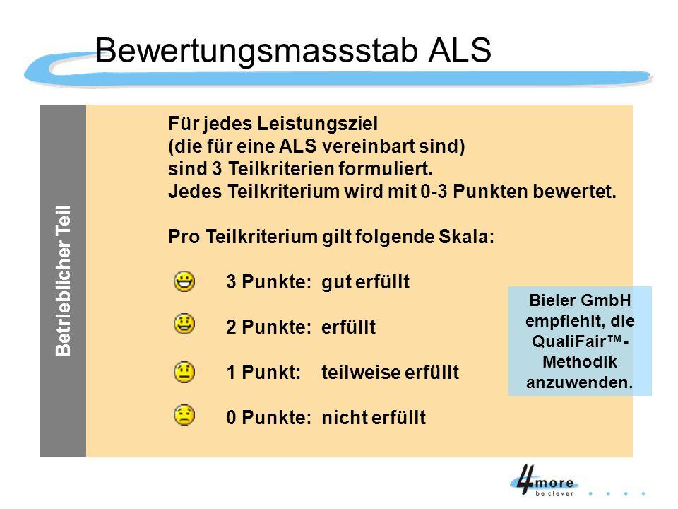 Für jedes Leistungsziel (die für eine ALS vereinbart sind) sind 3 Teilkriterien formuliert. Jedes Teilkriterium wird mit 0-3 Punkten bewertet. Pro Tei