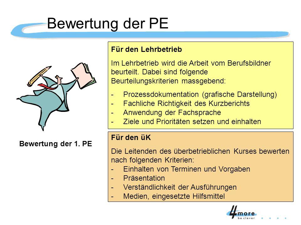 Bewertung der 1. PE Für den Lehrbetrieb Im Lehrbetrieb wird die Arbeit vom Berufsbildner beurteilt. Dabei sind folgende Beurteilungskriterien massgebe