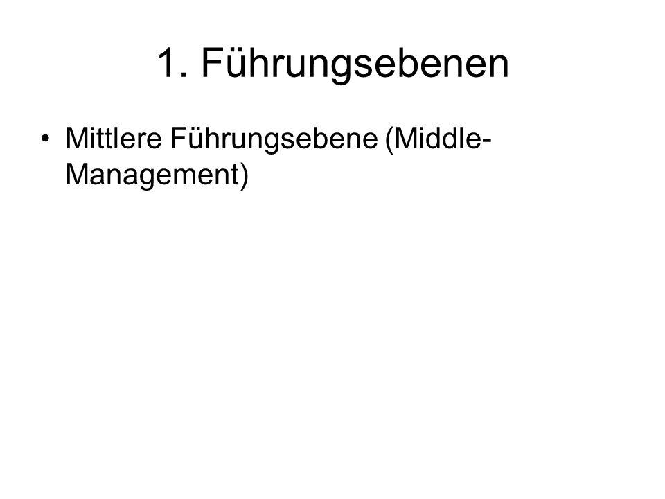 1. Führungsebenen Mittlere Führungsebene (Middle- Management)