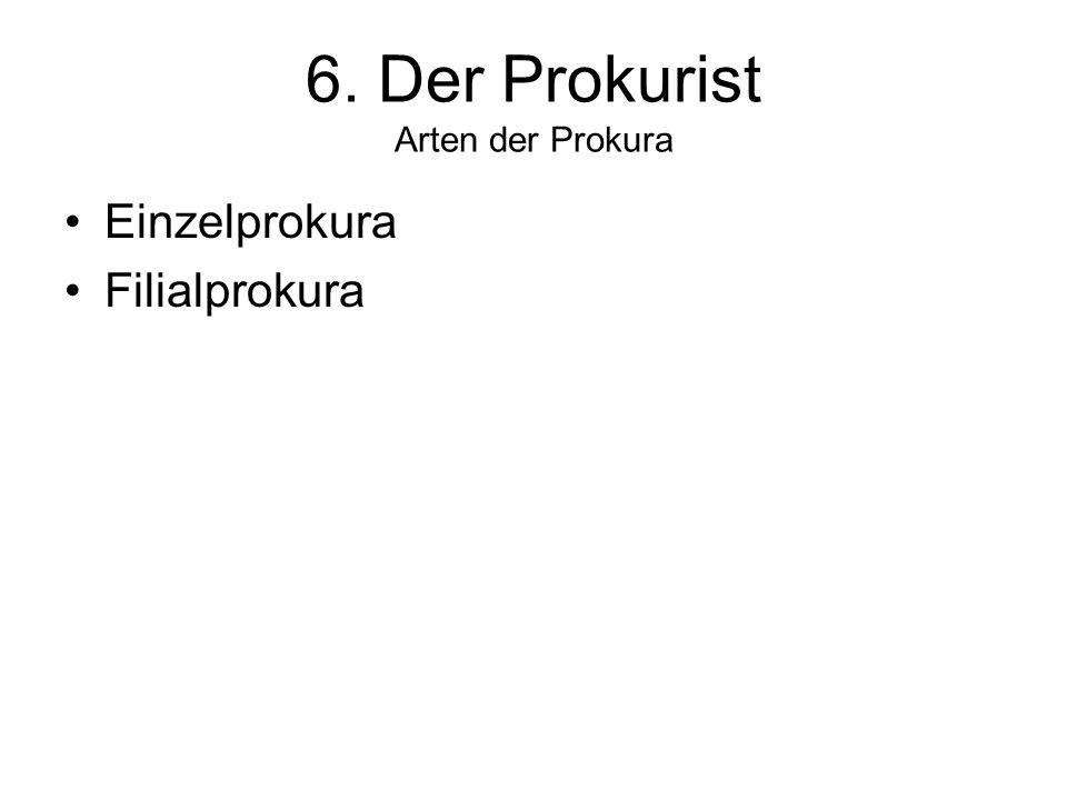 6. Der Prokurist Arten der Prokura Einzelprokura Filialprokura