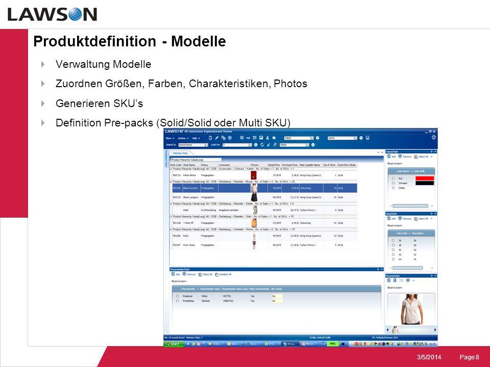 Page 83/5/2014 Produktdefinition - Modelle Verwaltung Modelle Zuordnen Größen, Farben, Charakteristiken, Photos Generieren SKUs Definition Pre-packs (