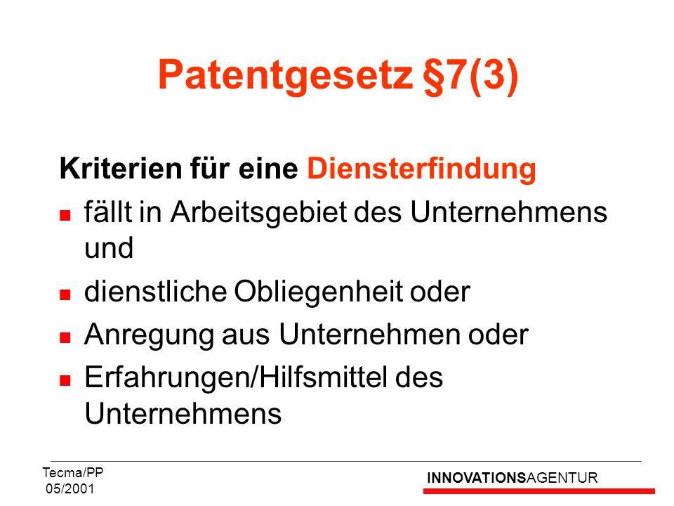 INNOVATIONSAGENTUR Tecma/PP 05/2001 Patentgesetz §7(3) Kriterien für eine Diensterfindung fällt in Arbeitsgebiet des Unternehmens und dienstliche Obli