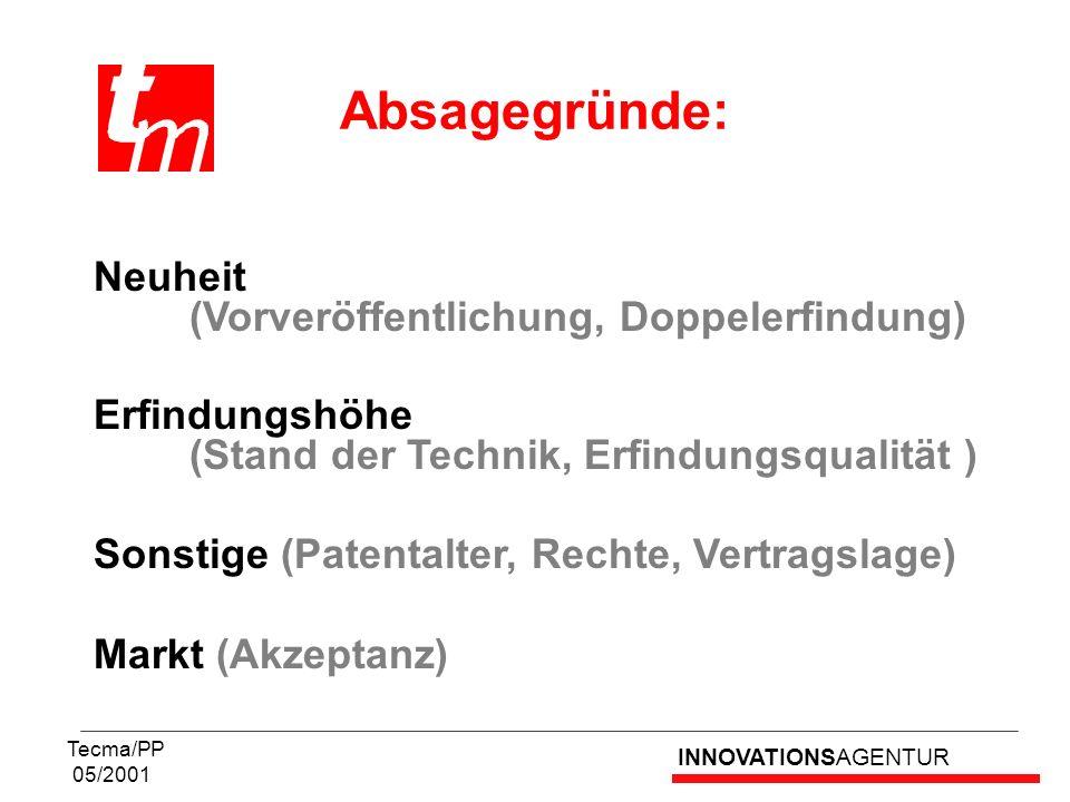 INNOVATIONSAGENTUR Tecma/PP 05/2001 Neuheit (Vorveröffentlichung, Doppelerfindung) Erfindungshöhe (Stand der Technik, Erfindungsqualität ) Sonstige (P