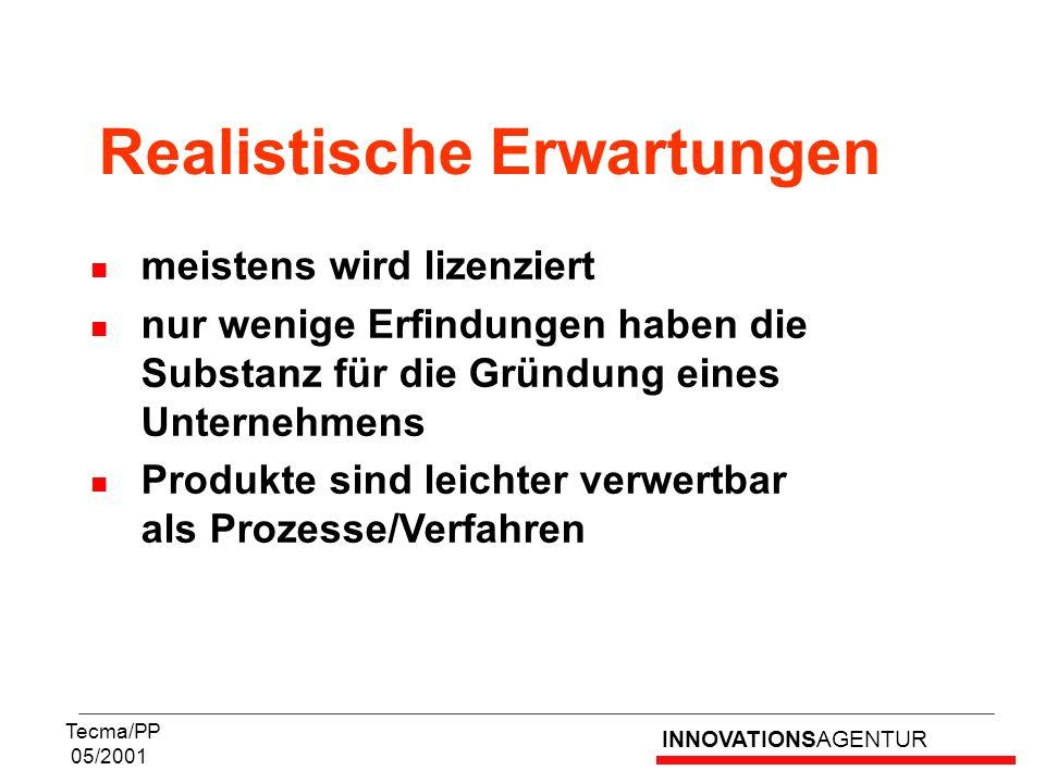INNOVATIONSAGENTUR Tecma/PP 05/2001 meistens wird lizenziert nur wenige Erfindungen haben die Substanz für die Gründung eines Unternehmens Produkte si