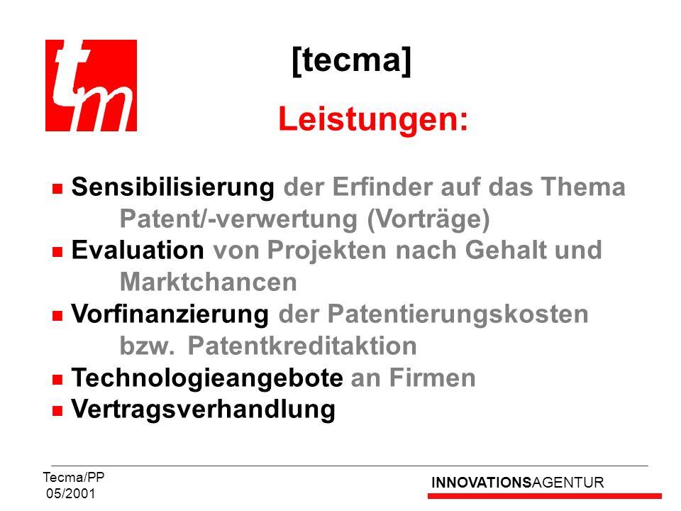 INNOVATIONSAGENTUR Tecma/PP 05/2001 Leistungen: Sensibilisierung der Erfinder auf das Thema Patent/-verwertung (Vorträge) Evaluation von Projekten nac