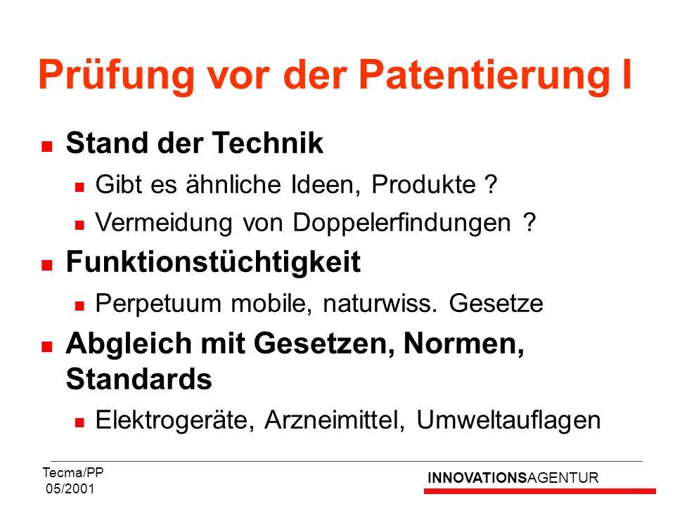 INNOVATIONSAGENTUR Tecma/PP 05/2001 Stand der Technik Gibt es ähnliche Ideen, Produkte ? Vermeidung von Doppelerfindungen ? Funktionstüchtigkeit Perpe