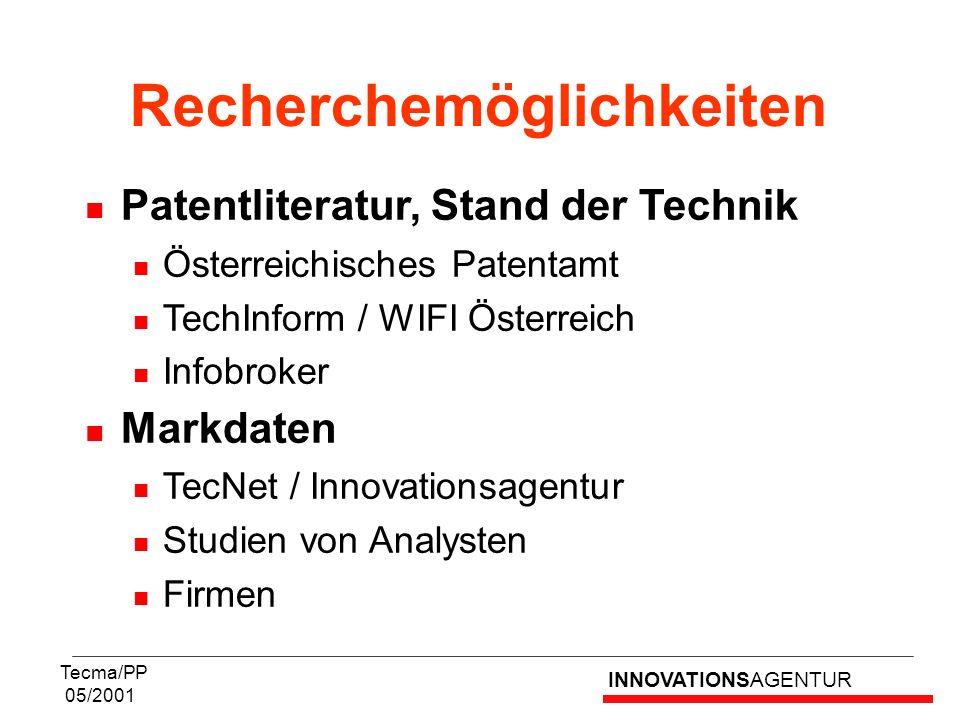 INNOVATIONSAGENTUR Tecma/PP 05/2001 Patentliteratur, Stand der Technik Österreichisches Patentamt TechInform / WIFI Österreich Infobroker Markdaten Te