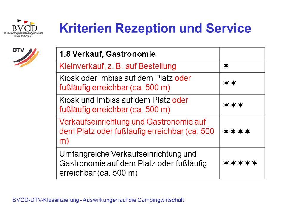 BVCD-DTV-Klassifizierung - Auswirkungen auf die Campingwirtschaft Kriterien Rezeption und Service 1.8 Verkauf, Gastronomie Kleinverkauf, z. B. auf Bes