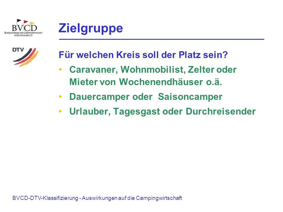 BVCD-DTV-Klassifizierung - Auswirkungen auf die Campingwirtschaft Zielgruppe Für welchen Kreis soll der Platz sein? Caravaner, Wohnmobilist, Zelter od