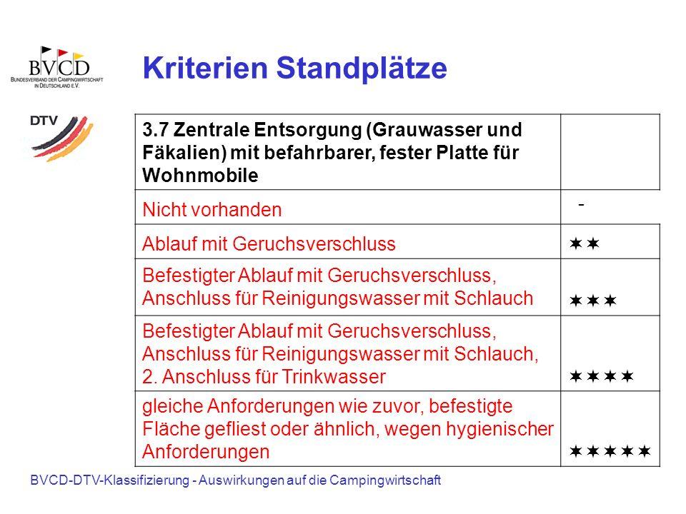 BVCD-DTV-Klassifizierung - Auswirkungen auf die Campingwirtschaft Kriterien Standplätze 3.7 Zentrale Entsorgung (Grauwasser und Fäkalien) mit befahrba