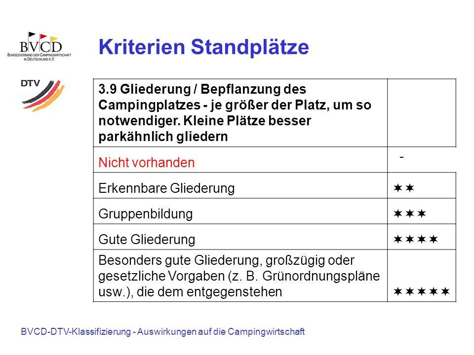 BVCD-DTV-Klassifizierung - Auswirkungen auf die Campingwirtschaft Kriterien Standplätze 3.9 Gliederung / Bepflanzung des Campingplatzes - je größer de
