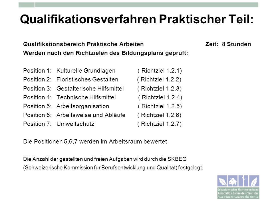 Qualifikationsverfahren Praktischer Teil: Qualifikationsbereich Praktische Arbeiten Zeit: 8 Stunden Werden nach den Richtzielen des Bildungsplans gepr