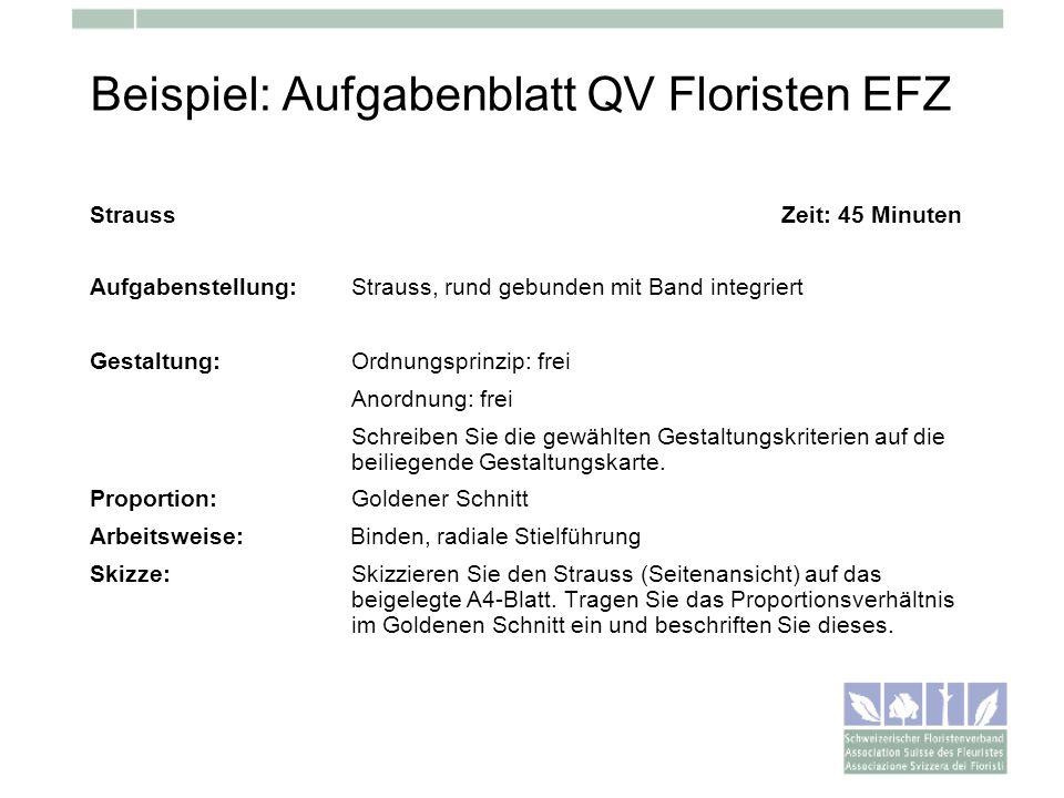 Beispiel: Aufgabenblatt QV Floristen EFZ Strauss Zeit: 45 Minuten Aufgabenstellung: Strauss, rund gebunden mit Band integriert Gestaltung:Ordnungsprin