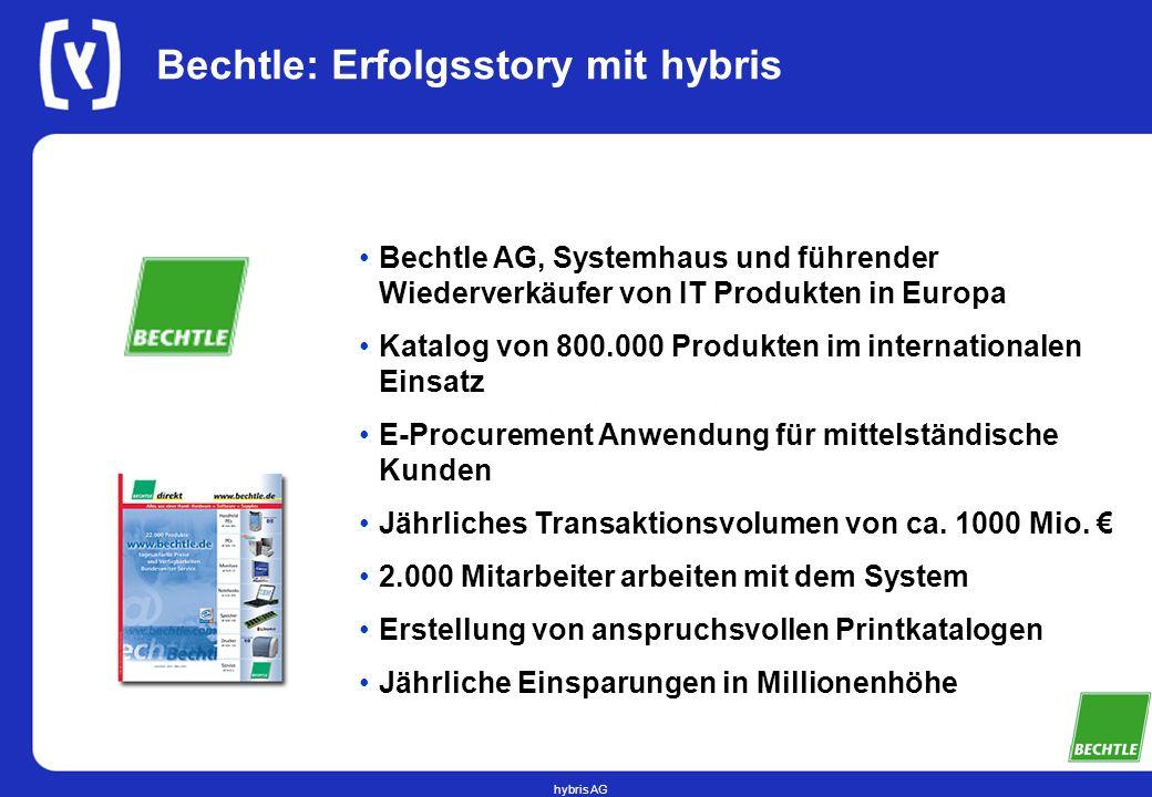 hybris AG Bechtle: Erfolgsstory mit hybris Bechtle AG, Systemhaus und führender Wiederverkäufer von IT Produkten in Europa Katalog von 800.000 Produkt