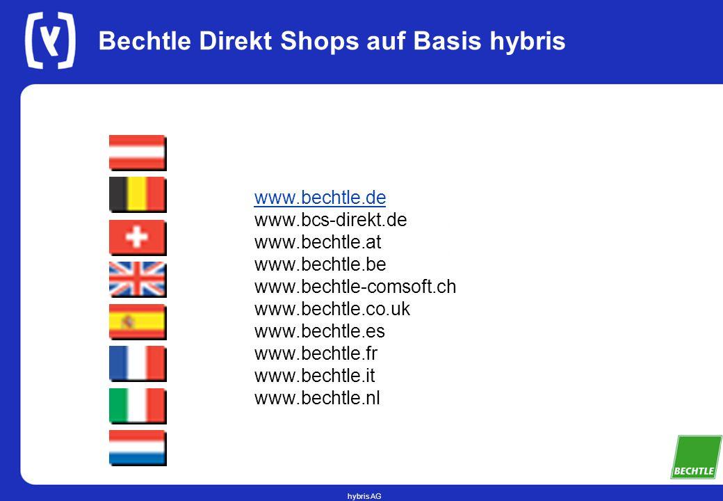hybris AG Bechtle Direkt Shops auf Basis hybris www.bechtle.de www.bcs-direkt.de www.bechtle.at www.bechtle.be www.bechtle-comsoft.ch www.bechtle.co.uk www.bechtle.es www.bechtle.fr www.bechtle.it www.bechtle.nl