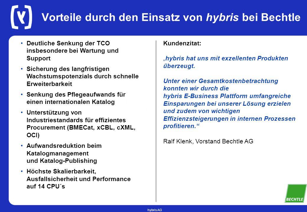 hybris AG Vorteile durch den Einsatz von hybris bei Bechtle Deutliche Senkung der TCO insbesondere bei Wartung und Support Sicherung des langfristigen
