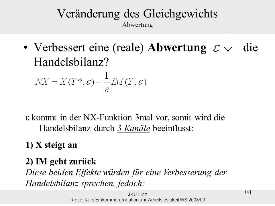 JKU Linz Riese, Kurs Einkommen, Inflation und Arbeitslosigkeit WS 2008/09 141 Veränderung des Gleichgewichts Abwertung Verbessert eine (reale) Abwertu