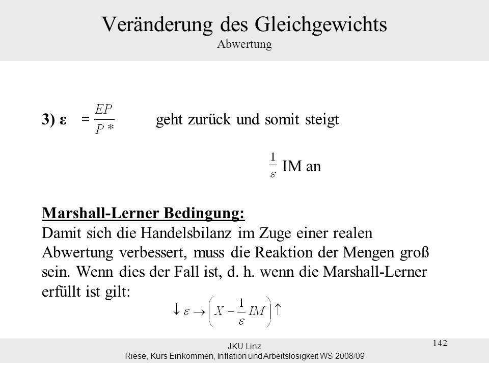 JKU Linz Riese, Kurs Einkommen, Inflation und Arbeitslosigkeit WS 2008/09 142 Veränderung des Gleichgewichts Abwertung 3) ε geht zurück und somit stei