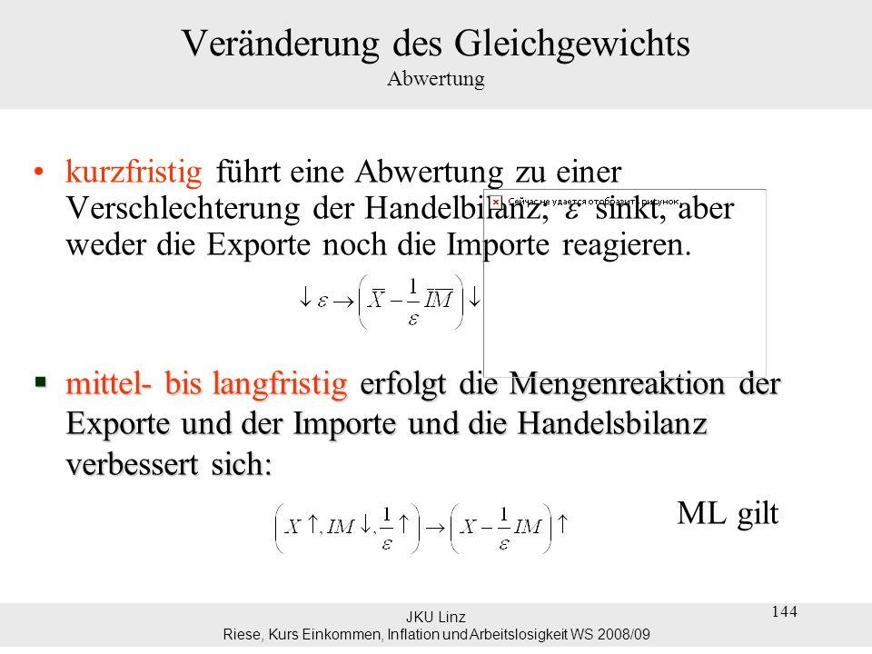JKU Linz Riese, Kurs Einkommen, Inflation und Arbeitslosigkeit WS 2008/09 144 Veränderung des Gleichgewichts Abwertung kurzfristig führt eine Abwertun