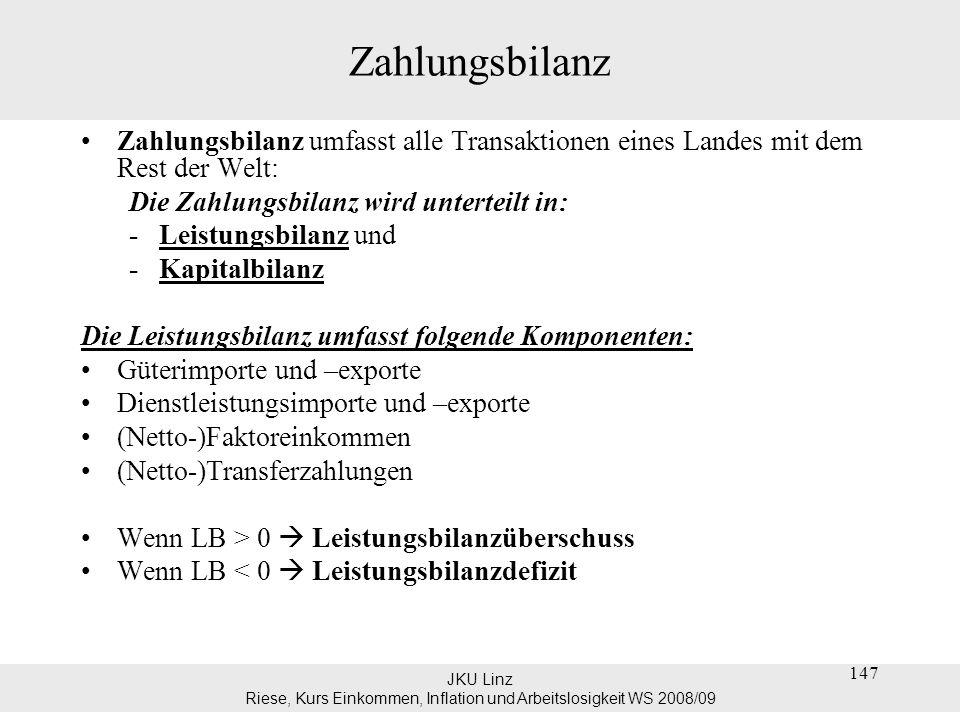 JKU Linz Riese, Kurs Einkommen, Inflation und Arbeitslosigkeit WS 2008/09 147 Zahlungsbilanz Zahlungsbilanz umfasst alle Transaktionen eines Landes mi