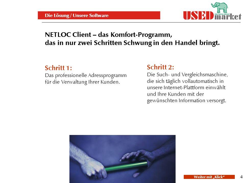 4 NETLOC Client – das Komfort-Programm, das in nur zwei Schritten Schwung in den Handel bringt.
