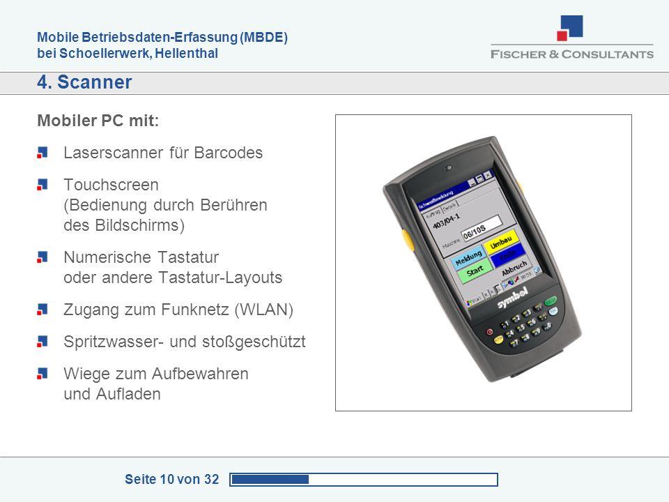 Mobile Betriebsdaten-Erfassung (MBDE) bei Schoellerwerk, Hellenthal Seite 10 von 32 4. Scanner Mobiler PC mit: Laserscanner für Barcodes Touchscreen (