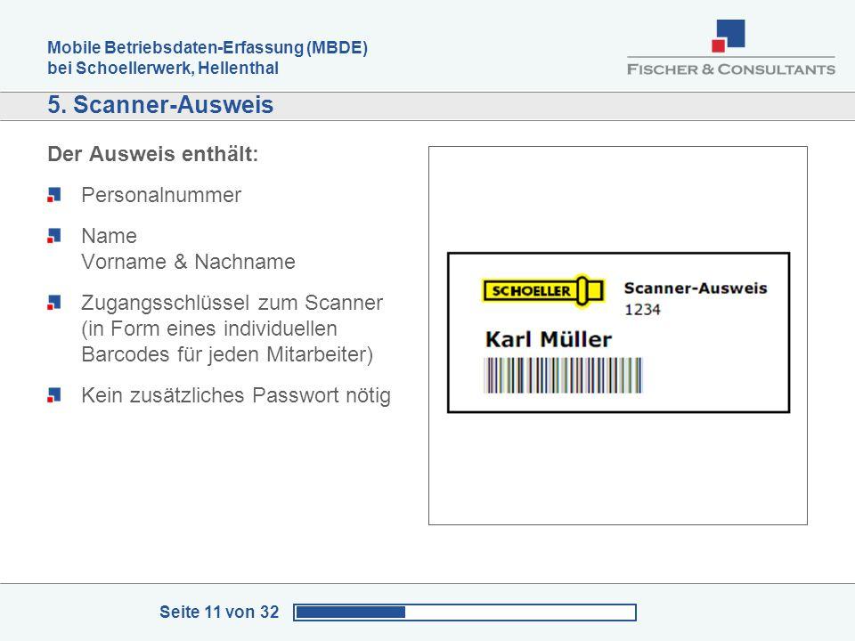 Mobile Betriebsdaten-Erfassung (MBDE) bei Schoellerwerk, Hellenthal Seite 11 von 32 5. Scanner-Ausweis Der Ausweis enthält: Personalnummer Name Vornam