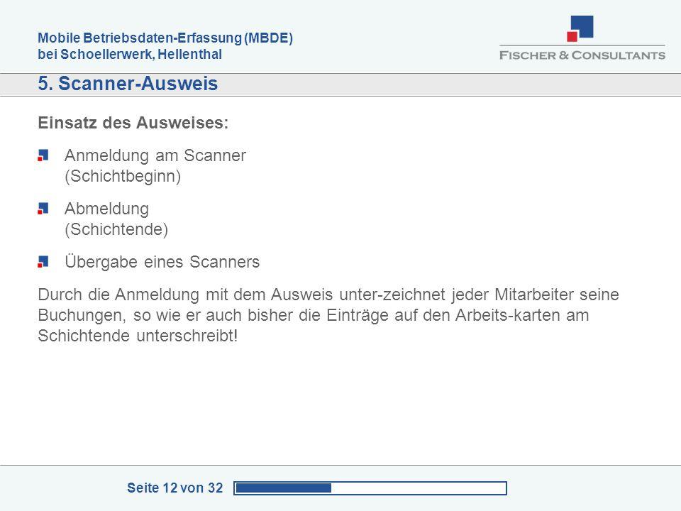 Mobile Betriebsdaten-Erfassung (MBDE) bei Schoellerwerk, Hellenthal Seite 12 von 32 5. Scanner-Ausweis Einsatz des Ausweises: Anmeldung am Scanner (Sc