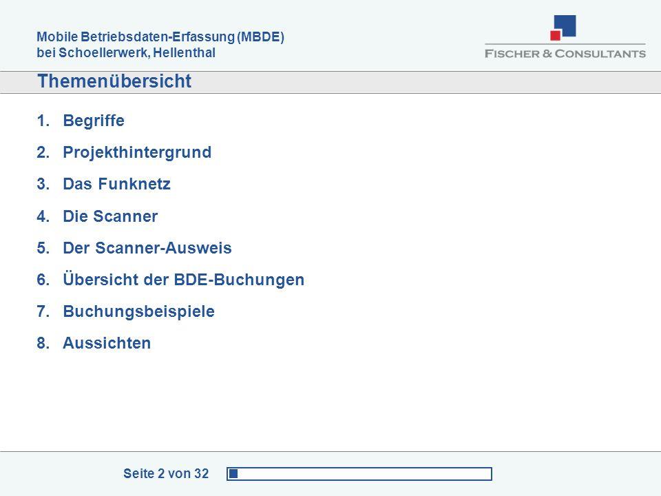 Mobile Betriebsdaten-Erfassung (MBDE) bei Schoellerwerk, Hellenthal Seite 2 von 32 Themenübersicht 1.Begriffe 2.Projekthintergrund 3.Das Funknetz 4.Di