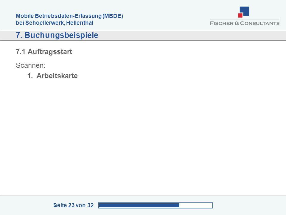 Mobile Betriebsdaten-Erfassung (MBDE) bei Schoellerwerk, Hellenthal Seite 23 von 32 7. Buchungsbeispiele 7.1 Auftragsstart Scannen: 1.Arbeitskarte