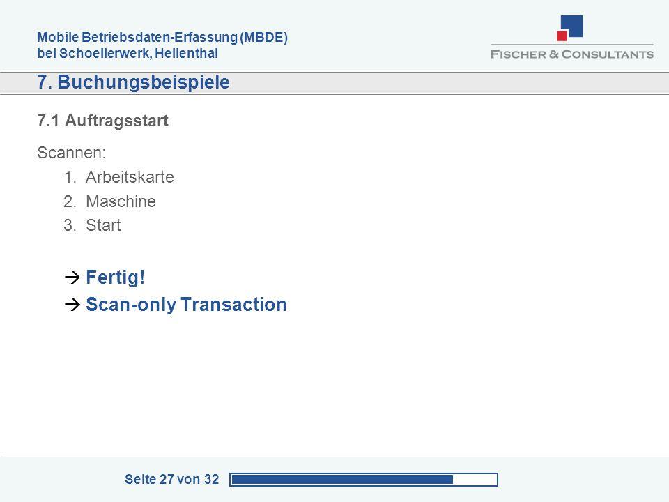 Mobile Betriebsdaten-Erfassung (MBDE) bei Schoellerwerk, Hellenthal Seite 27 von 32 7. Buchungsbeispiele 7.1 Auftragsstart Scannen: 1.Arbeitskarte 2.M